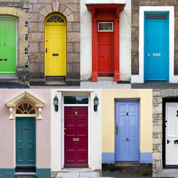 Colourful varied doors and porches of households